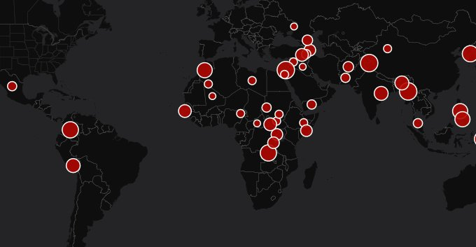 A map of all active conflicts globally