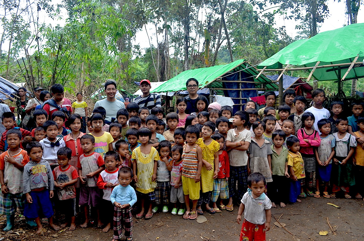 Villagers displaced by fighting in Kachin state between the Myanmar military and the Kachin Independence Army fled to makeshift shelters in the jungle