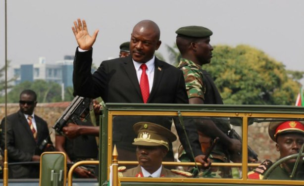 Burundi President Pierre Nkurunziza at a commemoration for the country's 53rd year of independence.
