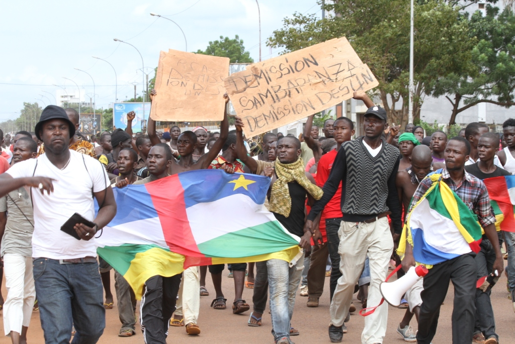 Demonstrators in Bangui after a fresh wave of violence call for the resignation of interim President Catherine Samba-Panza