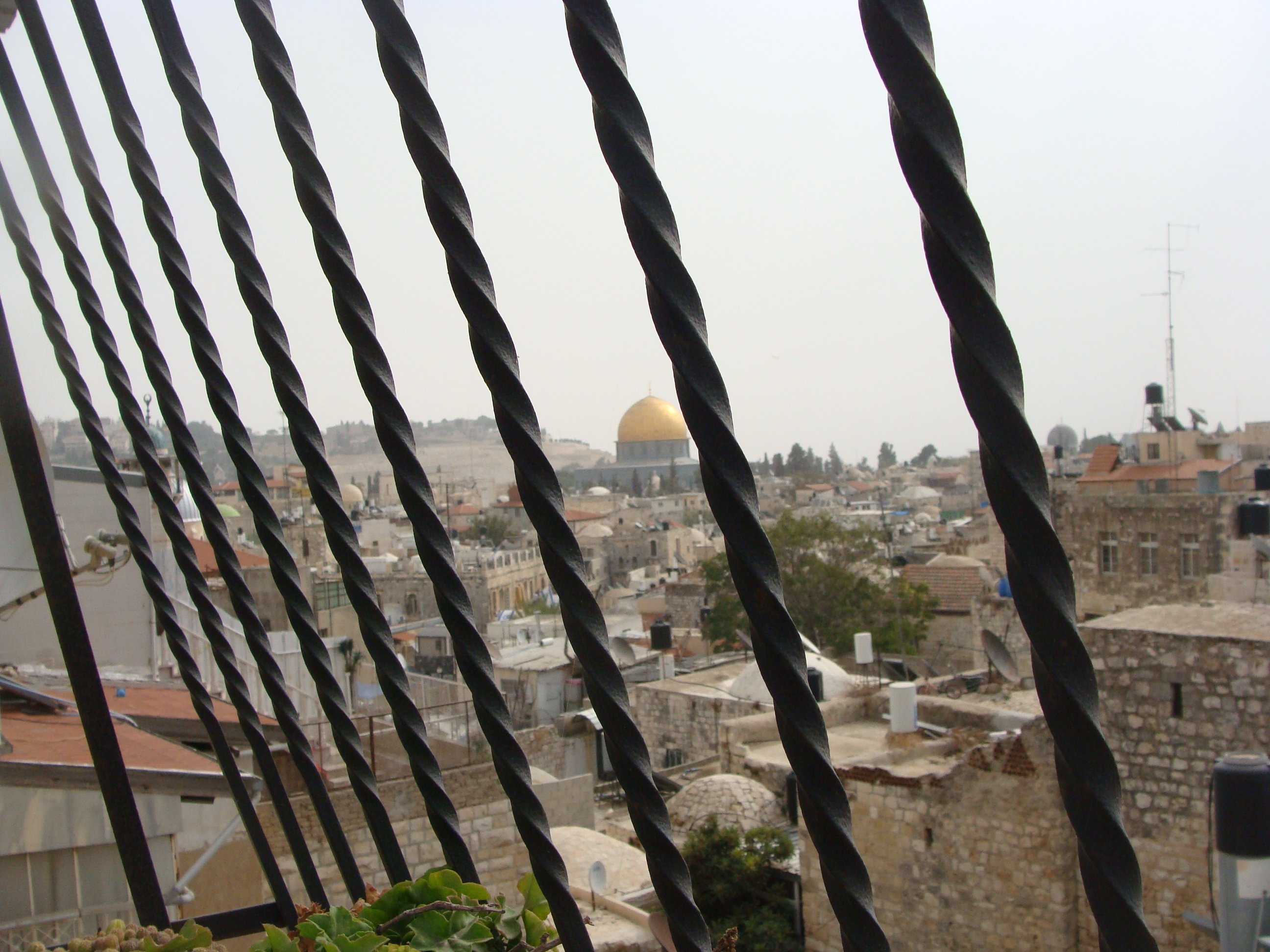 The Al-Aqsa mosque viewed from a house in Jerusalem's Old City, owned by the Ghosheh family.