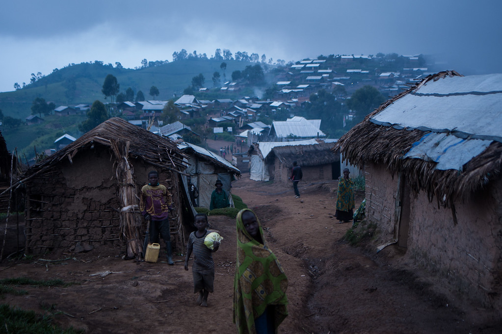 Settlement for people displaced by conflict in Mpati village, North Kivu.