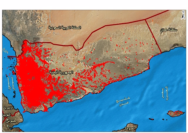 Map of no-strike locations in Yemen according to the Saudi-led coalition