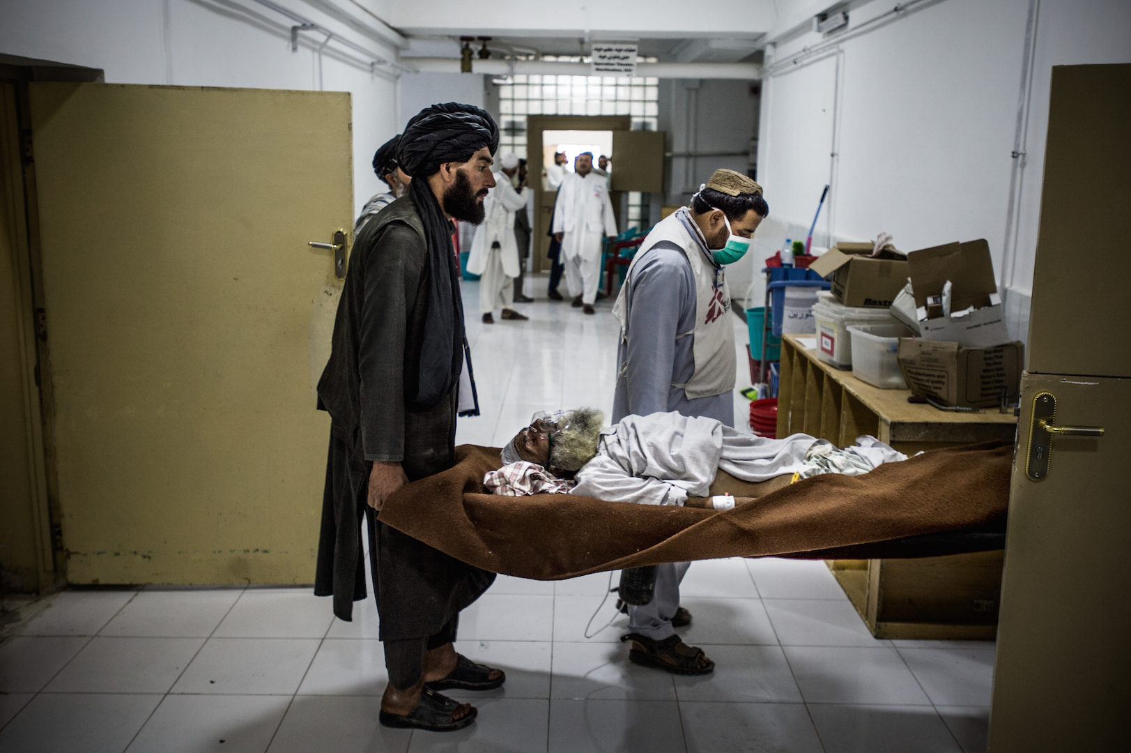 A patient arrives at Boost Hospital in Lashkar Gah, Afghanistan