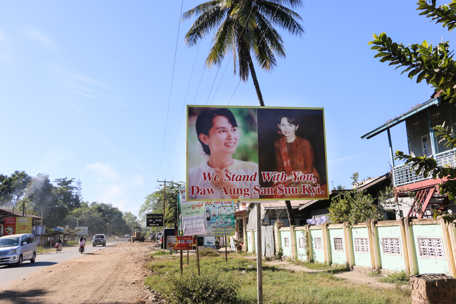 A signboard supporting Myanmar's defacto leader, Aung San Suu Kyi, is seen in Myitkyina.