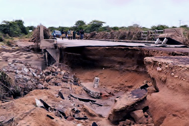 Nkankezi bridge at Insiza district in Zimbabwe's Matabeleland South Province was swept by floods following heavy rains in February 2017