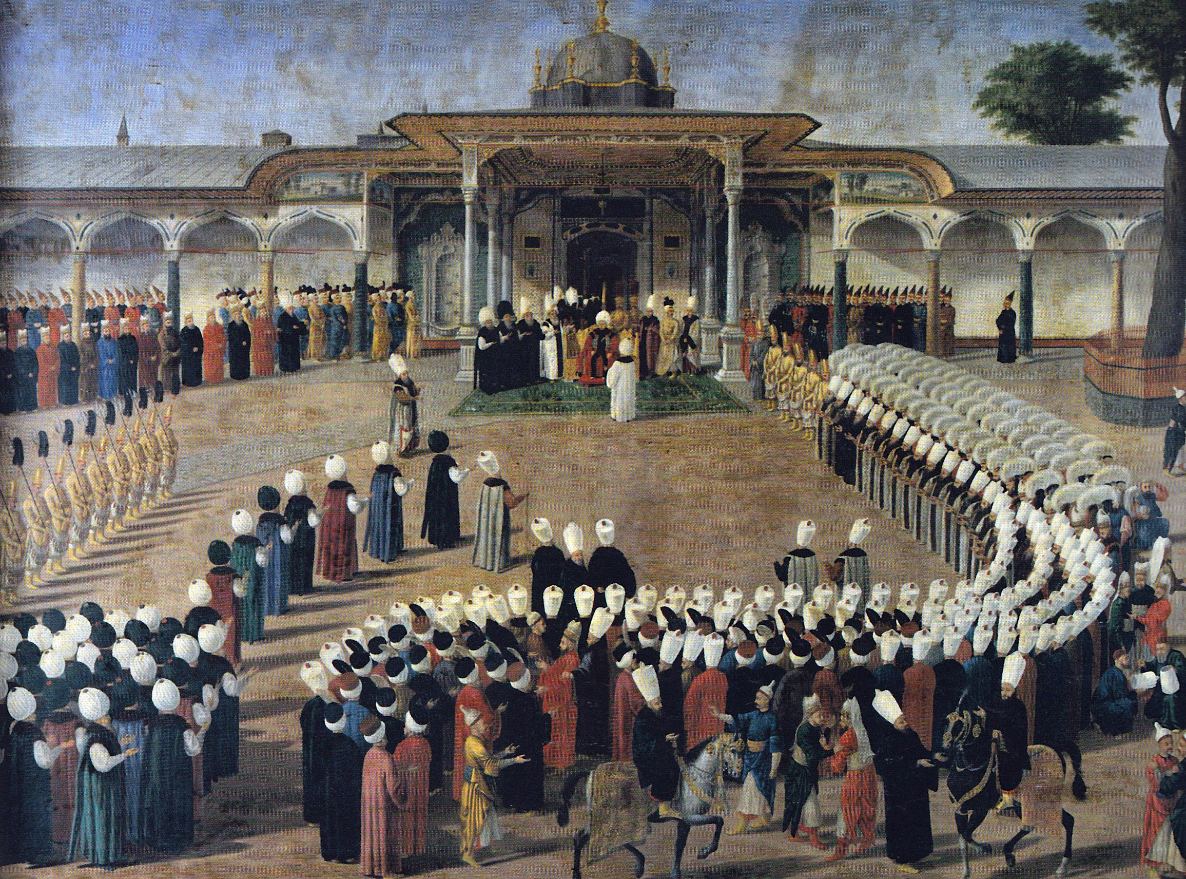 Selim III receiving dignitaries during an audience at the Gate of Felicity, Topkapı Palace.