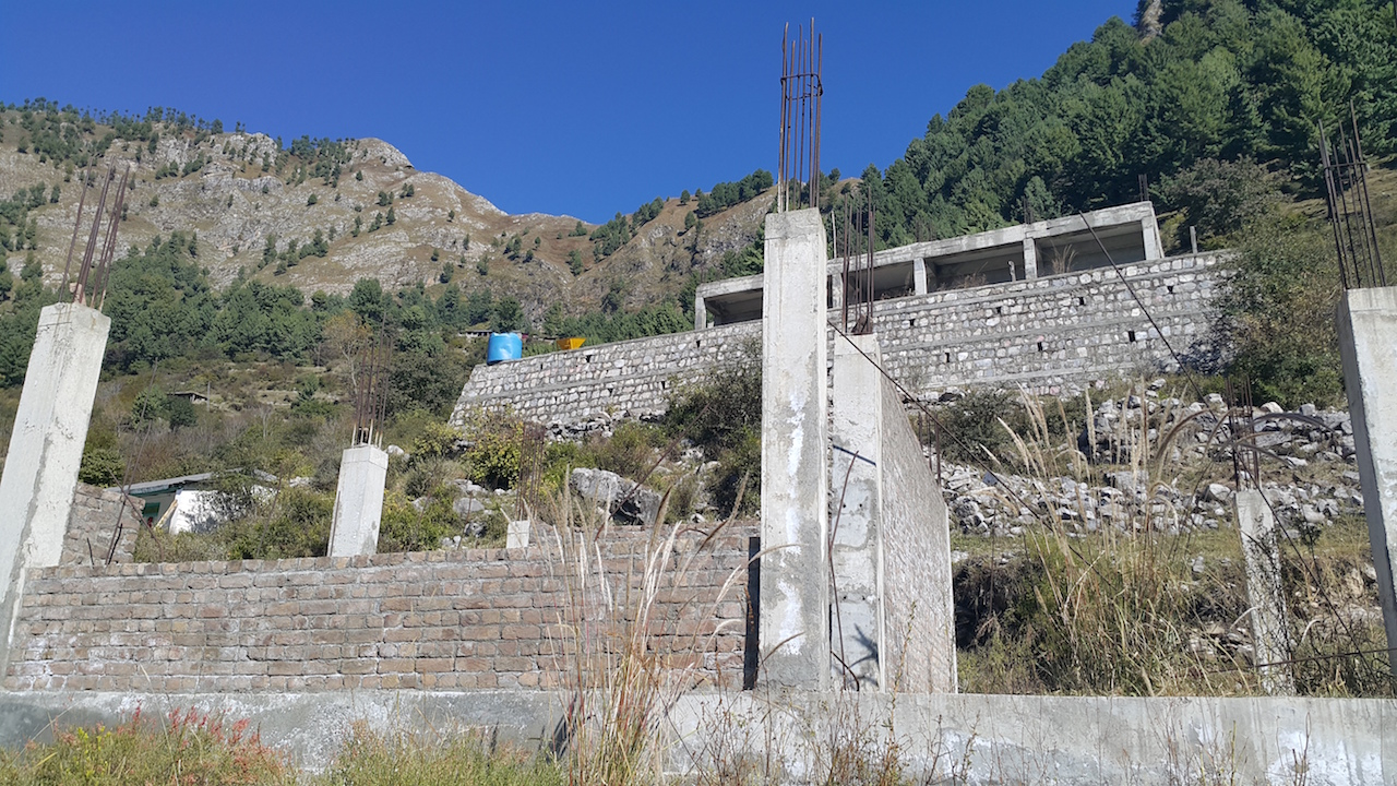 Unfinished school buildings in Pehlwan, Pakistan, which was hit by an earthquake in 2005