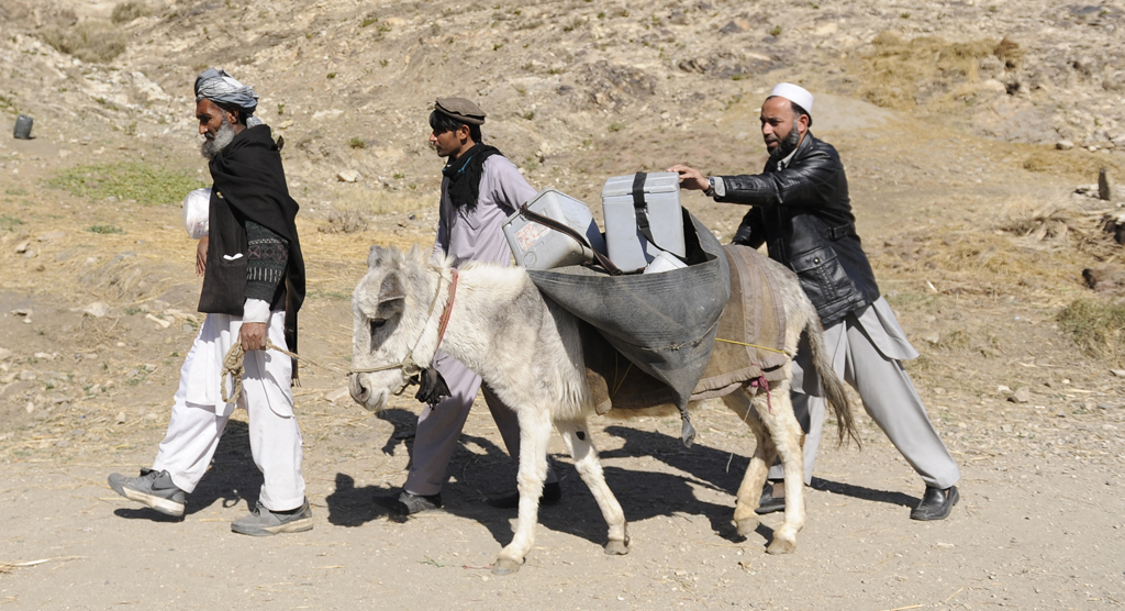 Members of a polio vaccination team transport vaccines in Afghanistan's Kunar Province
