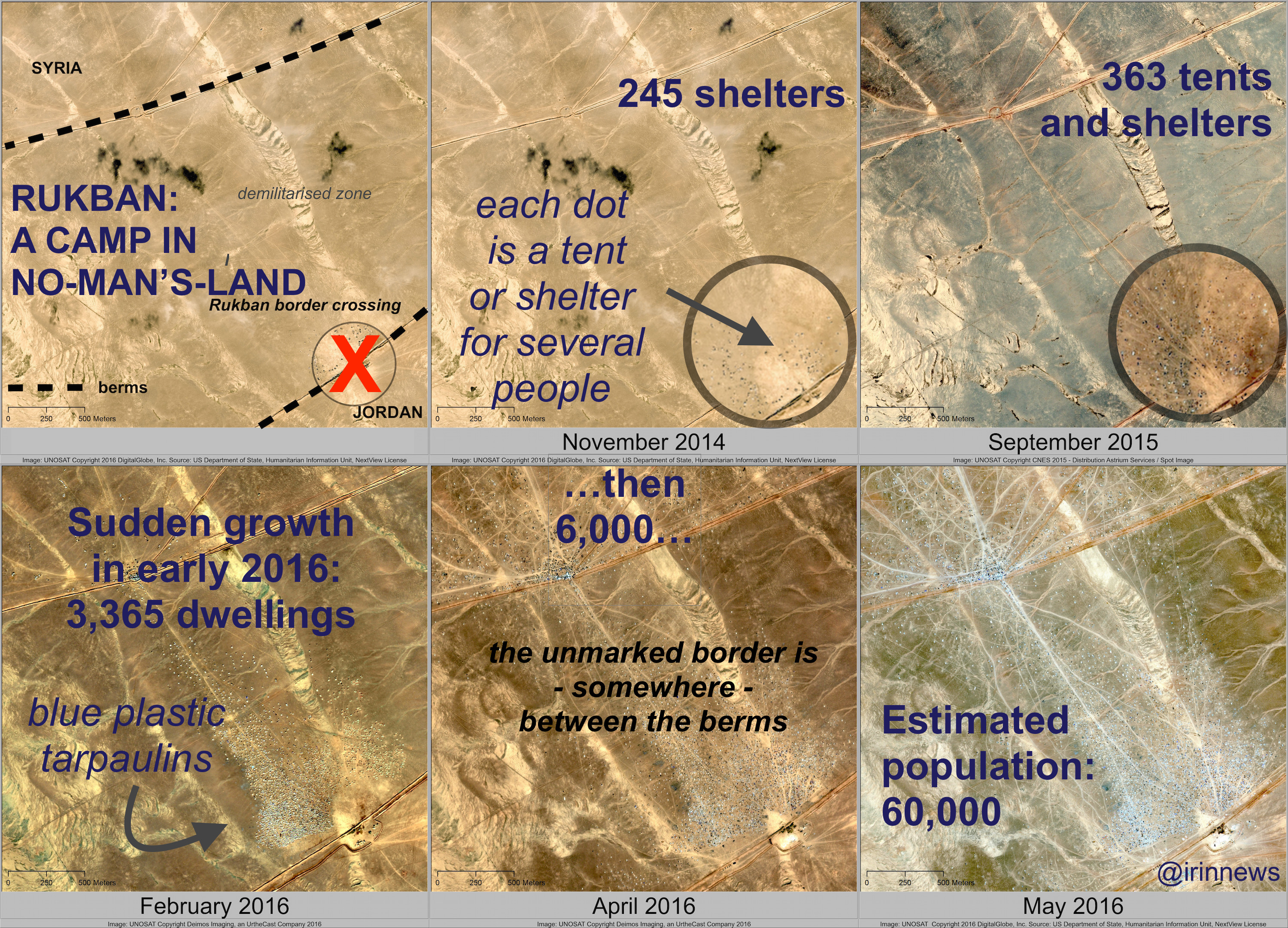 The growth of the Rukban settlement seen in satellite imagery