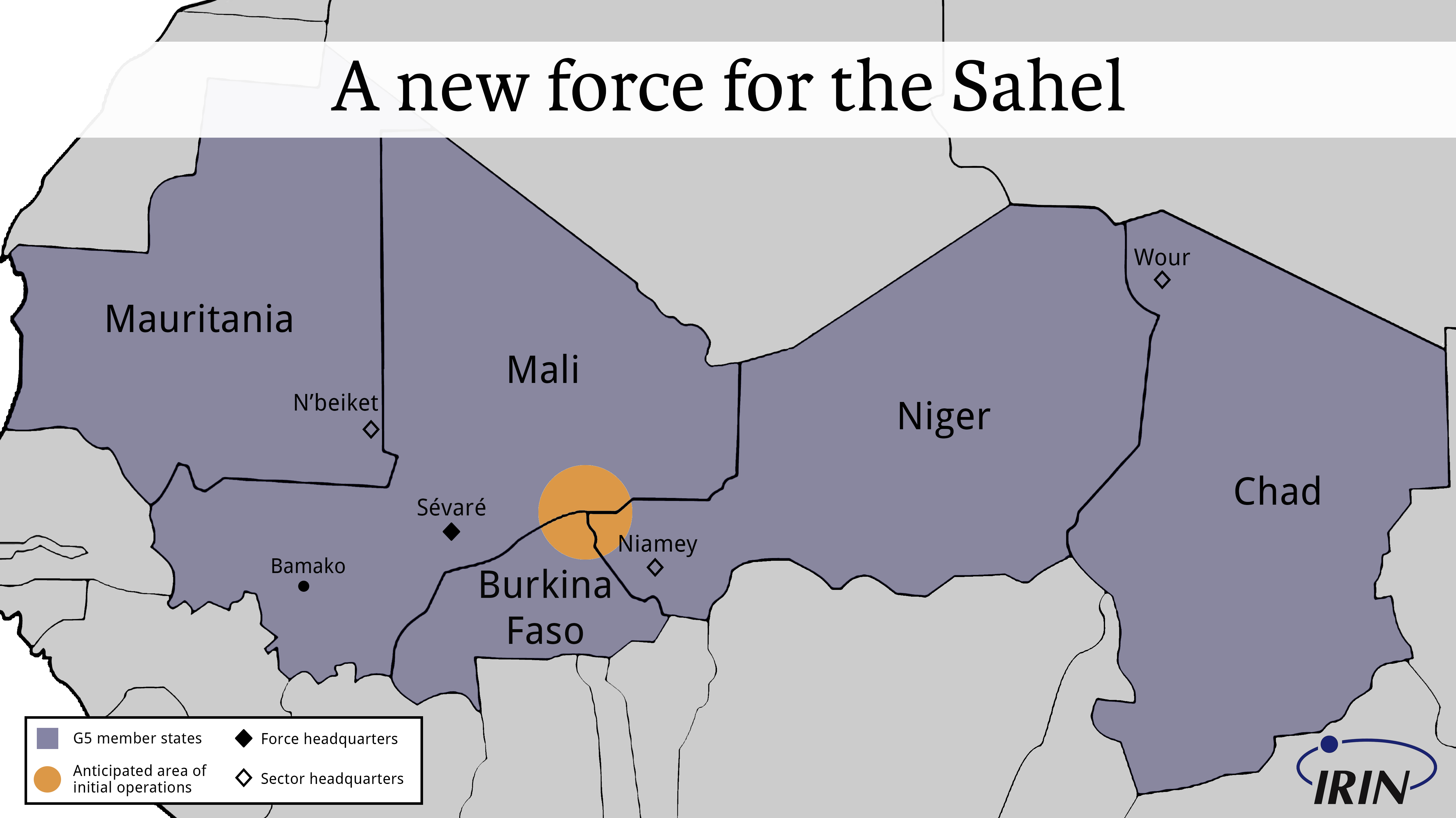 Map of the G5 Sahel Bloc territory