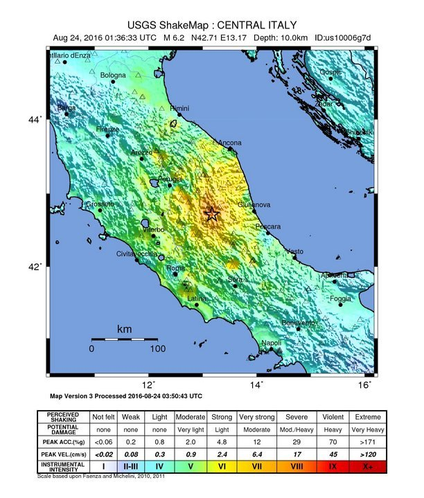 Italy earthquake shaker map
