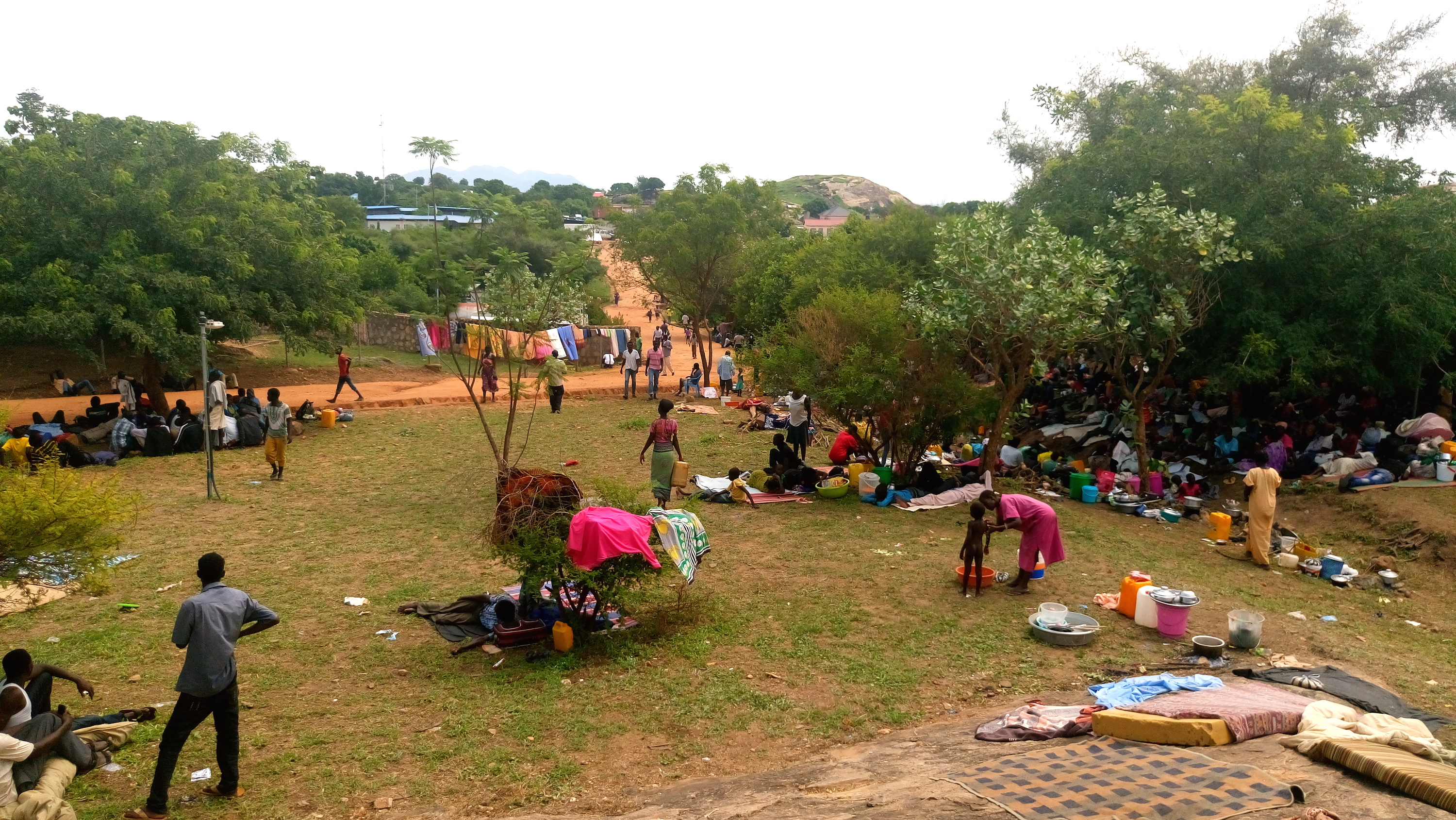 Displaced people take refuge at the WFP compound in Juba