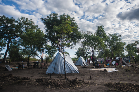 A view of temporary shelters