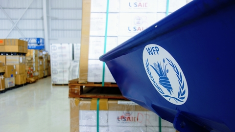 A WFP-managed warehouse at the airport in Antigua and Barbuda in 2017