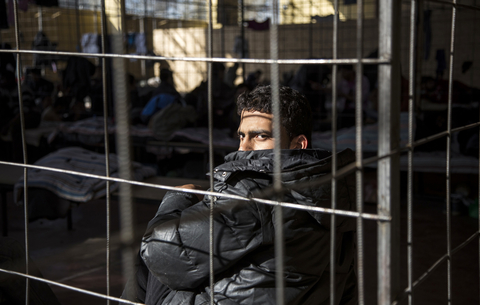 A Syrian refugee detained at the border police station in Elhovo, Bulgaria on October 22, 2013