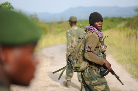 FARDC commandos on patrol in Virunga National Park, Rutshuru Territory, North Kivu Province