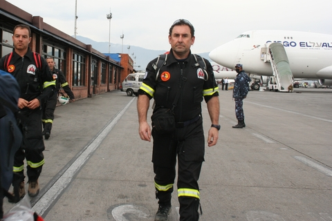 Spanish rescue specialist firefighters arrive in Kathmandu, Nepal to assist in relief efforts after a 7.8-magnitude earthquake hit the country on 25 April 2015.