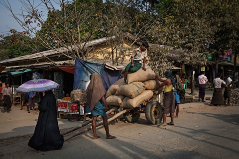 A Rohingya Muslim woman walks past a cart carrying bags of rice in downtown Buthidaung, Myanmar, in early 2014
