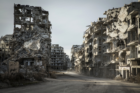The destroyed neighbourhood of Khalidiya in the Old City of Homs, Syria
