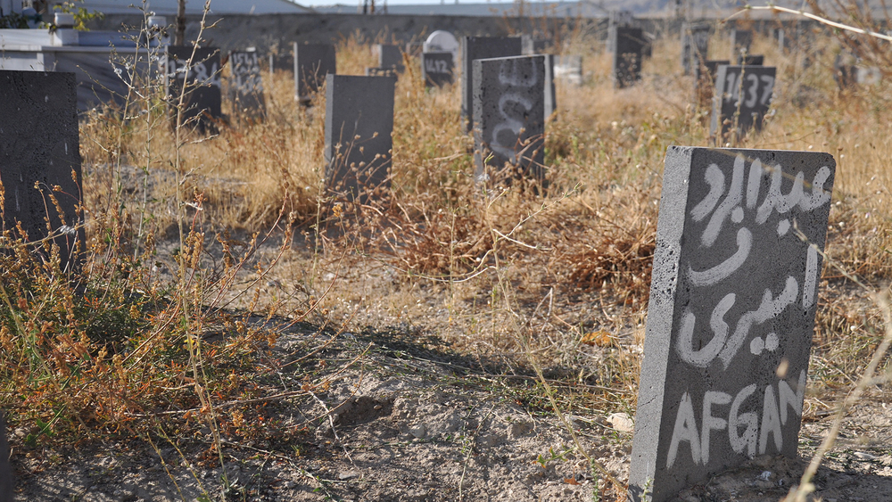 "Gravestones at a cemetery in Van which hosts the graves of asylum seekers who died somewhere along their journey. Some of the slabs simply read ""Afghan"" or ""Pakistan""."