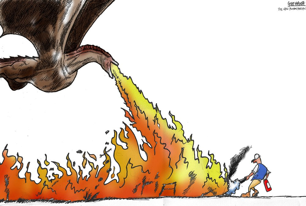 A cartoon of a dragon blowing fire at a man with an extinguisher.