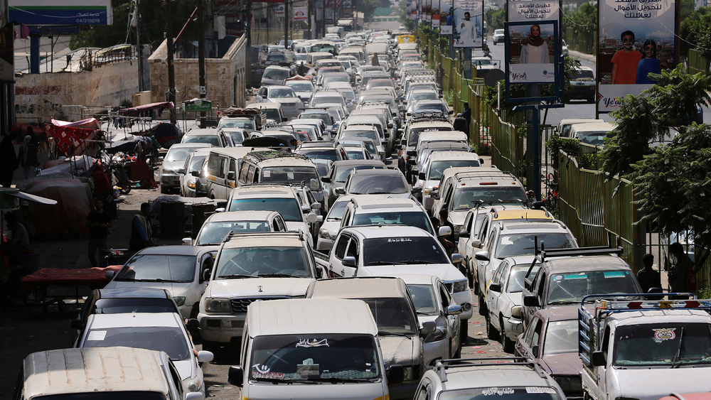 Cars queue at a petrol station amid a fuel shortage in Sana'a, Yemen on 20 August, 2020.