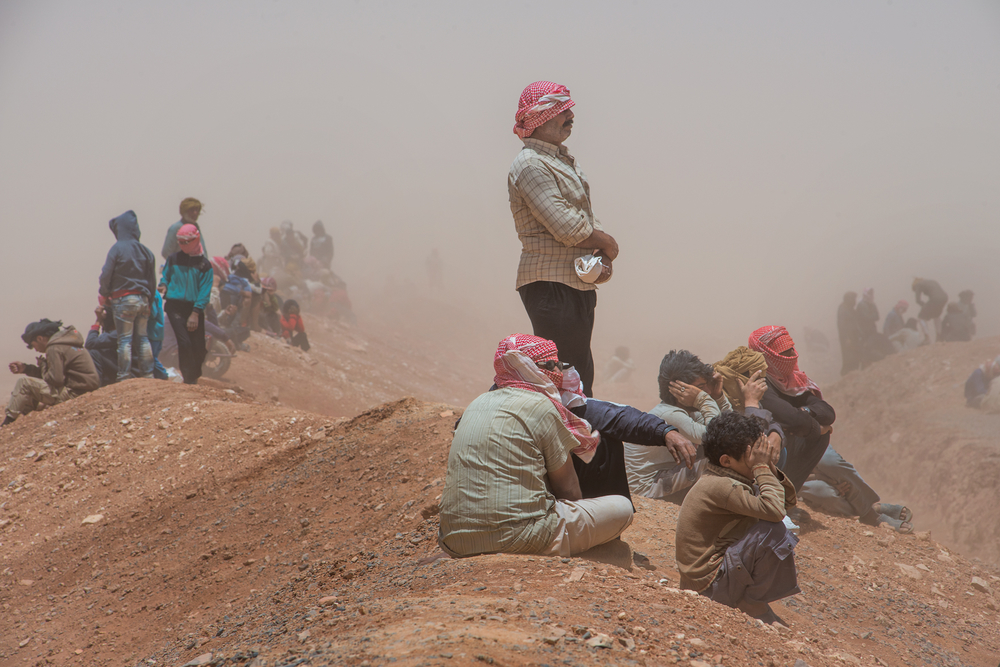A scene at Rukban in June 2016, where thousands of Syrians are camped at the Jordan-Syria border