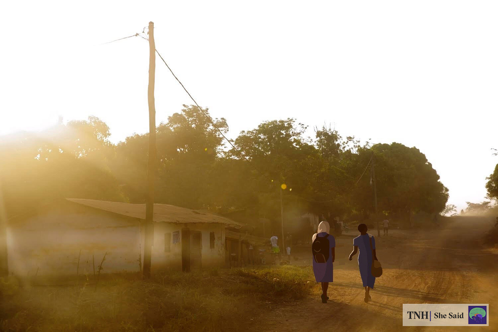 Children walk to school in the morning in Cameroon