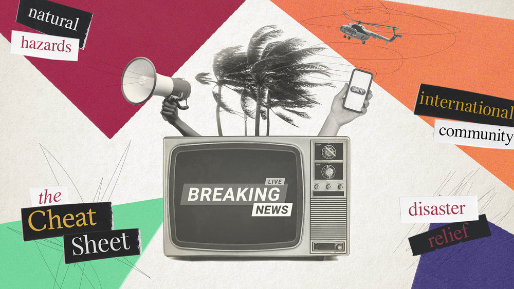 Graphic of a television that reads 'breaking news'.