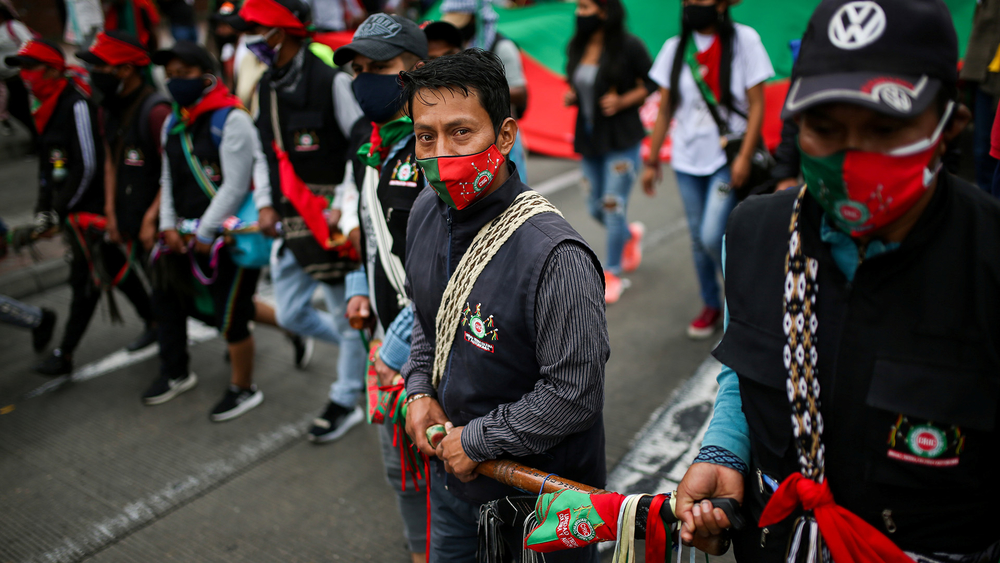 Indigenous people march in the Colombian capital, Bogotá