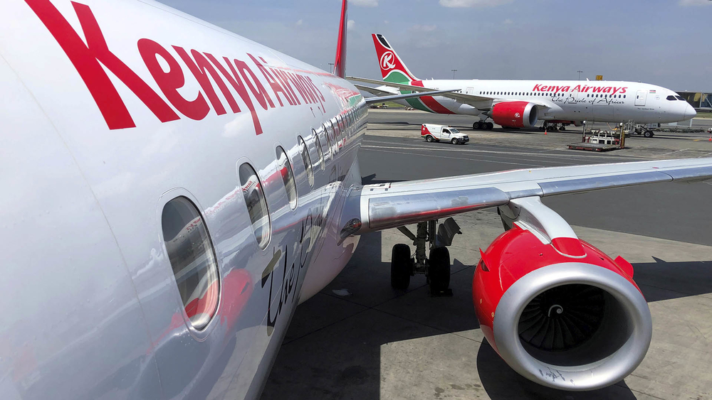 Kenya Airways planes parked at the Jomo Kenyatta International Airport near Nairobi, Kenya.