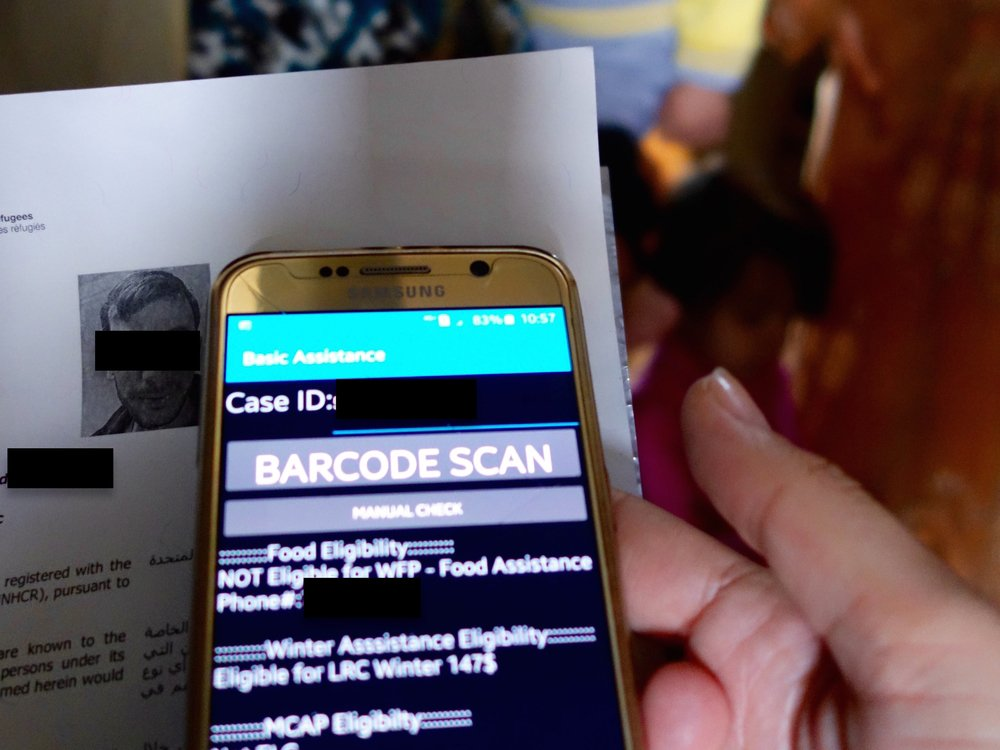 A UNHCR app allows field workers in Lebanon to check refugee entitlements via barcode
