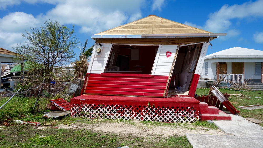A damaged house on the island of Barbuda after Hurricane Irma in 2017.