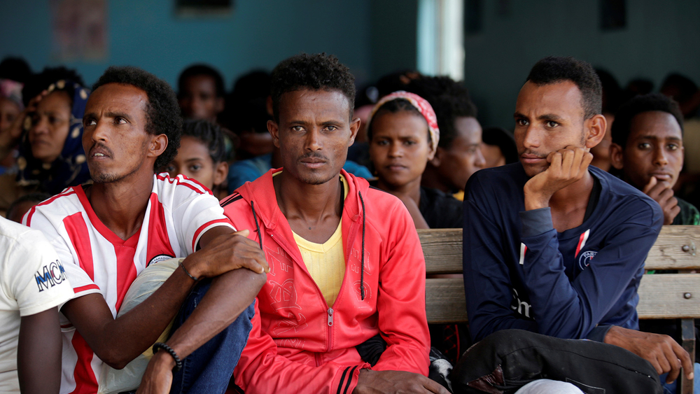 Newly arrived Eritrean refugees in Shire town