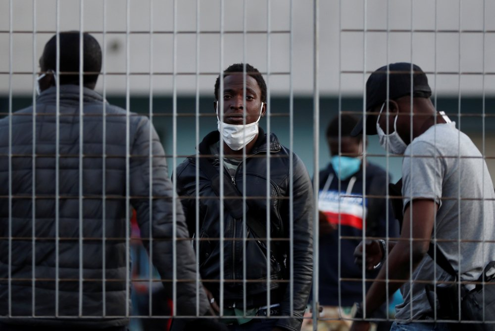 Migrants at a reception centre in Rome