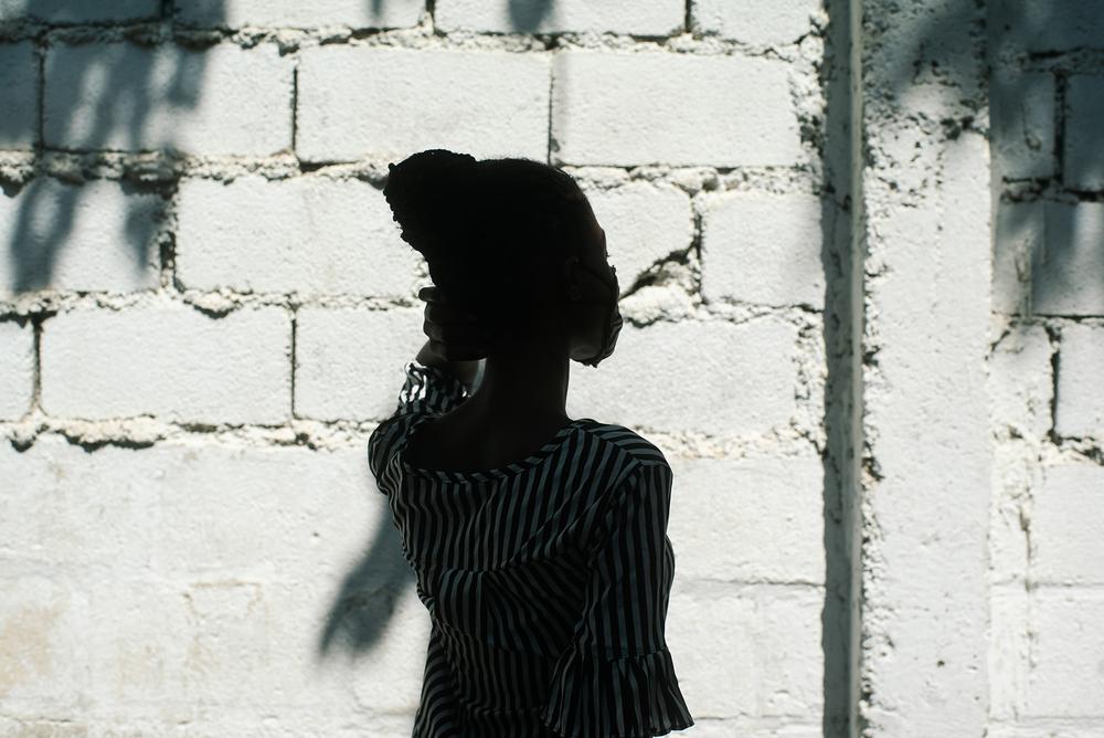 A Haitian woman's silhouette