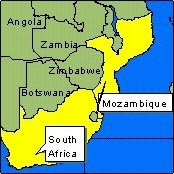 Country Map - Mozambique, South Africa