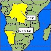 Country Map - DRC, Namibia
