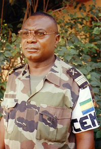 [Central African Republic (CAR)] Col Augustin Bibaye, CEMAC force spokesman, at Bangui M'poko military base, where the CEMAC force is based.