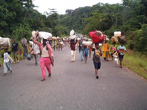 Almost 14 years of civil war millions of residents have been forced to flee their homes in Liberia, 9 March 2003. Residents have been displaced by fighting between the government and Liberians United for Reconciliation and Democracy, a rebel movement. Res