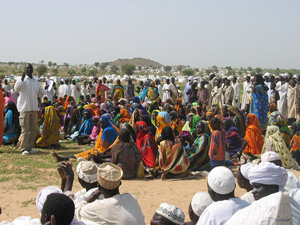 [Chad] Bredjing refugee camp in eastern Chad is already bursting at the seams with people who have fled the fighting in Darfur. September 2004.