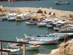 [Lebanon] Fishermen in Naqoura village are proud of their new boats. [Date picture taken: 10/20/2005]