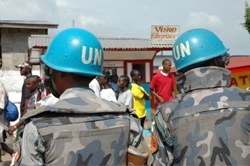 [Liberia] UN peacekeepers stand guard at the National Elections Commission as 
