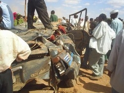 [Somalia] A vehicle that struck a landmine in Burao killing three people, on 16 November 2005.