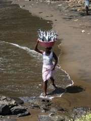 [Sao Tome & Principe] A woman carrying a plastic bowl of fish on her head emerges onto the beach at Sao Joao dos Angolares, a coastal village on Sao Tome island, after carrying it across the river from the beach where the fishing canoes come ashore. [Date