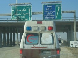 [Iraq] Red Crescent Society convoy going to Fallujah.