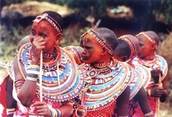 [Kenya] Twelve-years old girls from a Masai Community in Kenya. The traditional rite of FGM among the Maasai is performed between the ages of 12 and 14.