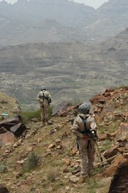 [Yemen] Al Dholee, Yemen, Members of Demining unit 5 work in a mine field on Jebal Al Nozhah near the village of Bait Al tawil. The mine field has claimed two lives and crippled 5 more to date. [Date picture taken: 2005/09/01]
