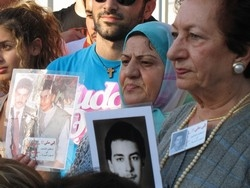 [Lebanon] Mothers of Lebanese detainees in Syria during a sit-in front of UN house in Beirut, where they have been sleeping in a tent for more than a year. [Date picture taken: 10/14/2006]